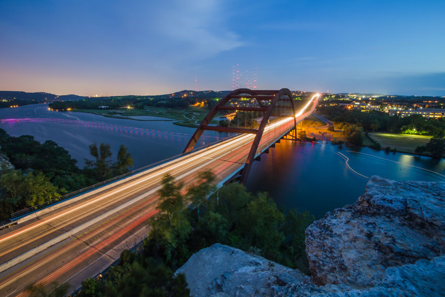 Austin Pennybacker Bridge night
