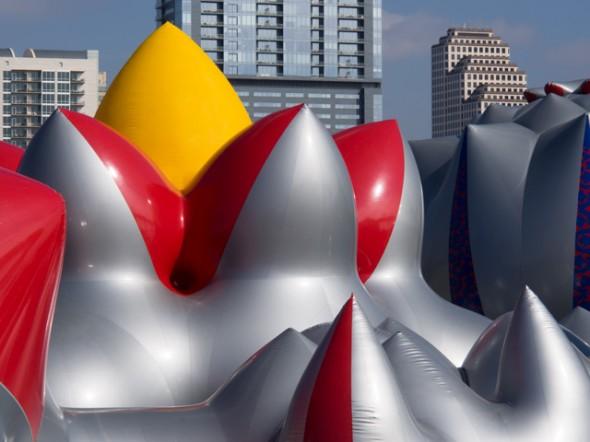Austin Skyline against - Exxopolis Luminarium