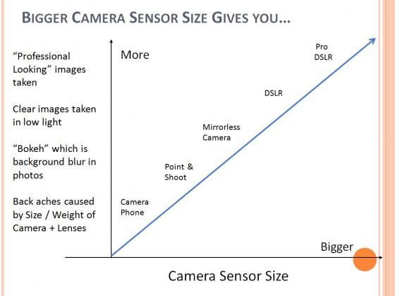 camer  sensor size graph