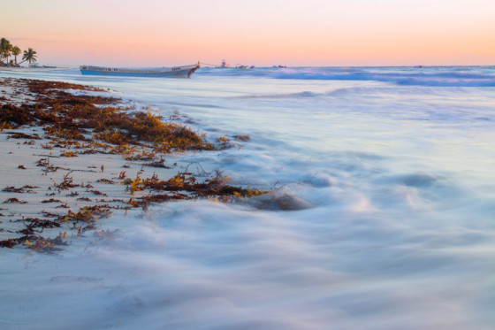 Tulum, Mexico beach sunrise slow shutter