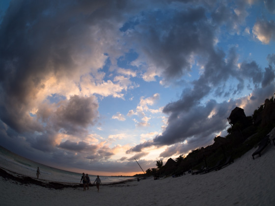 Beach Sunset - Rokinon 7.5mm fisheye - uncorrected
