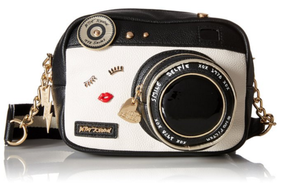 Betsey Johnson camera shaped bag / purse / handbag