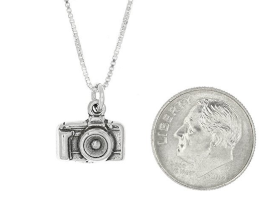 camera necklace silver charm